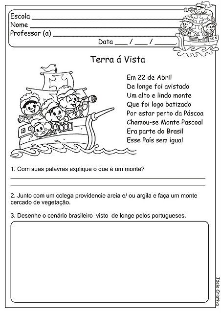 Descobrimento do Brasil texto - Interpretação - Exercícios