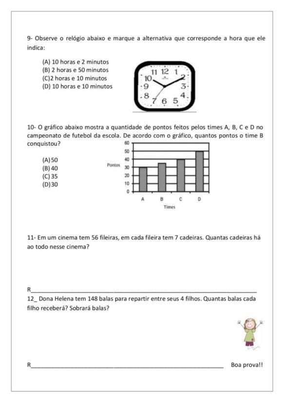 avaliação diagnostica de matematica 4o ano