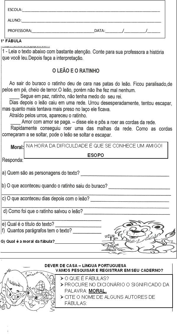 Suficiente ATIVIDADES COM FÁBULAS PARA O 3 º ANO - TEXTOS FR58