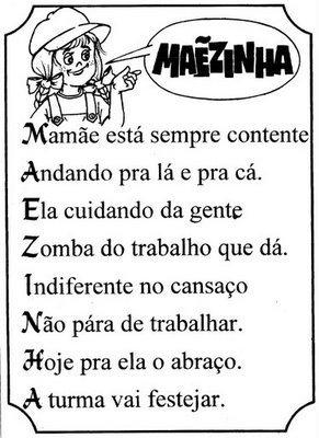 ACRÓSTICO COM A PALAVRA MAMÃE