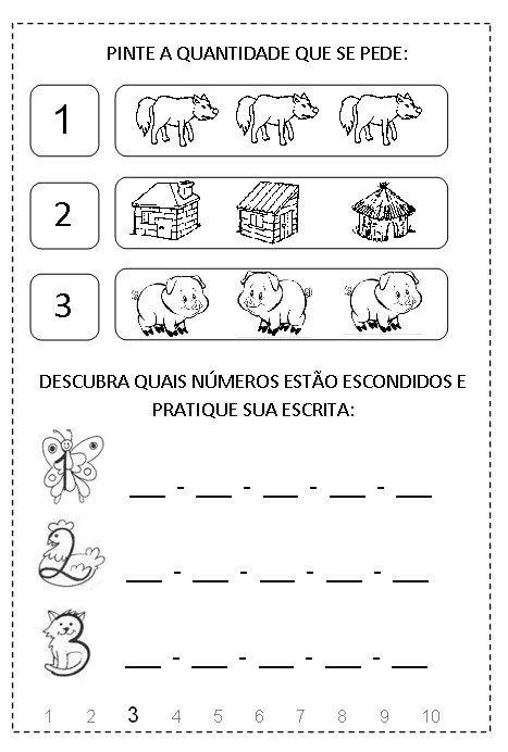 Atividades com o numero 3 para educação infantil