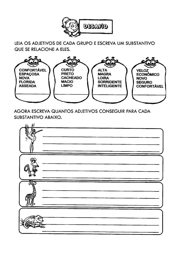 IDEIAS DE ATIVIDADES SOBRE ADJETIVO