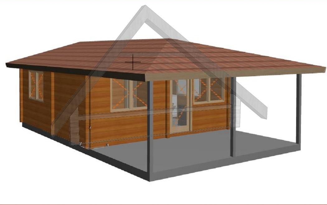 5,7x5,7 fin de semana 2 dormitorio+porche - AtiWood