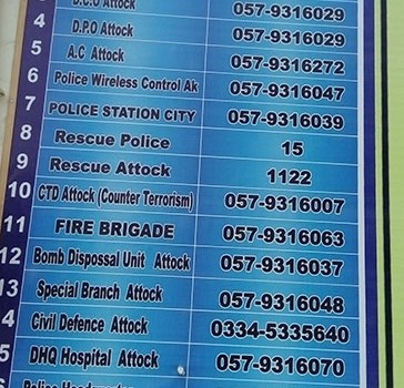EMERGENCY NUMBER ATTOCK