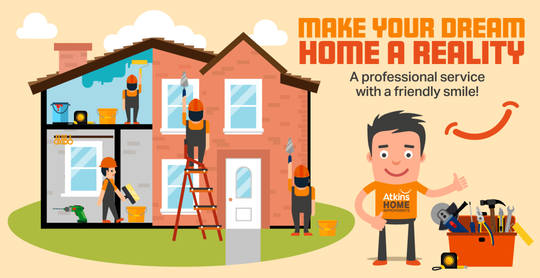 Atkins Home Improvements main website banner - displays workmen on both the inside and outside of a property, building, fixing, painting and the man in the Atkins logo'd t-shirt with toolbox