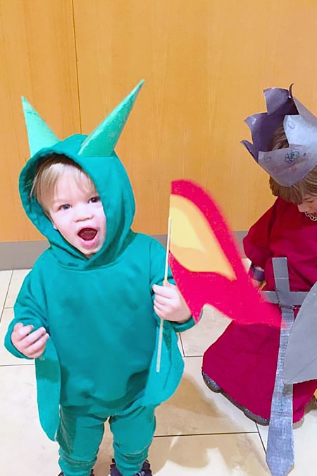 Sibling Halloween Costume Idea: A Dragon & His Knight
