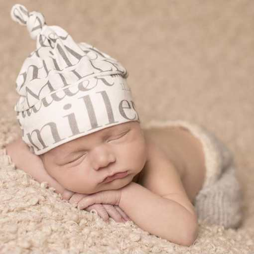 Finding that perfect outfit to take your little one home in is so tough! Our knotted name beanie is just the right accessory to build a look off of.