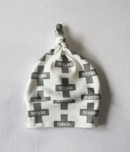 """Swiss cross is a fun, modern print that also gives a nod to tradition. Show off your little one's style and name with this organic cotton personalized """"Emeryville"""" beanie /// atkinsondriveorganics.com"""