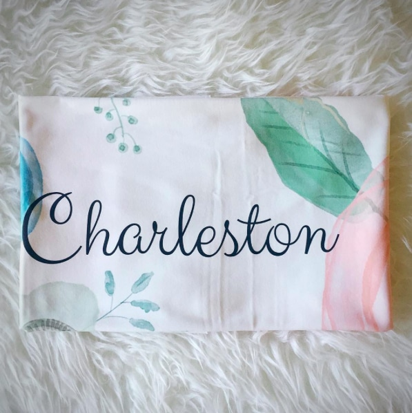 Watercolor Flowers Baby Name Swaddle |
