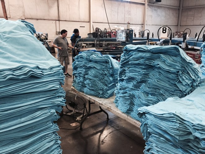 Stacks of Blue Shirts by P8 - Marshall Atkinson