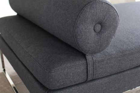 gray day bed with bolster pillow
