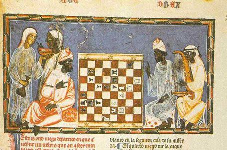 Moorish Chess - A depiction of Moorish noblemen playing the board game Book of Games, 1283 AD