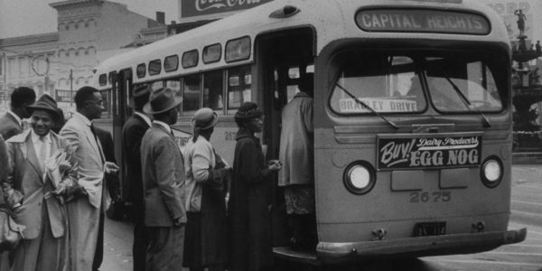 African Americans boarding an integrated