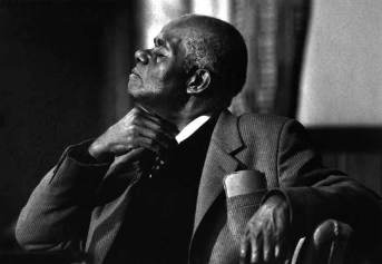 Black and white photo of John Henrik Clarke