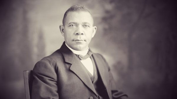 Seated studio portrait of American educator, economist and industrialist Booker T. Washington (1856-1915), founder of the Tuskegee Institute in Alabama, early twentieth century. (Photo by Harris & Ewing/Interim Archives/Getty Images)