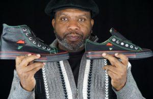 Tariq Edmondson, Owner of Sneakerscustom.com and his African custom sneakers