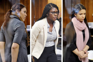 From left, Ariel Agudio, Asha Burwell and Alexis Briggs in court this week; the three University at Albany students pleaded not guilty to misdemeanor assault charges stemming from a bus fight. Photo by Paul Buckowski/Times Union