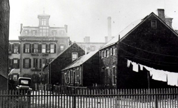 Hunterfly Road houses with St. Mary's Hospital in background, 1920s. Photo via Brooklyn Public Library