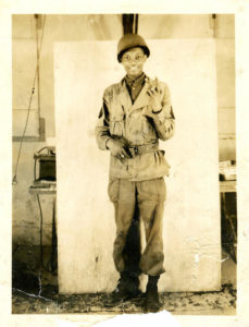 Rollins Edwards as a young soldier in 1945 at Clark Air Base in the Philippines. Source: AMELIA PHILLIPS HALE FOR NPR