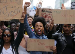 Members of Black Lives Matter London marched to the U.S. Embassy to protest recent police killings in the United States. AFP/Getty Images