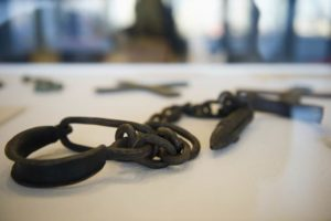 Shackles used to bind slaves. UN Photo/Mark Garten
