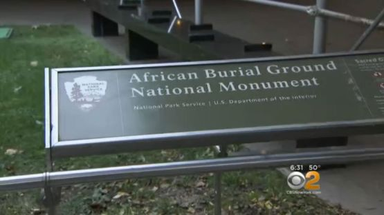 African Burial Ground marked with grafitti
