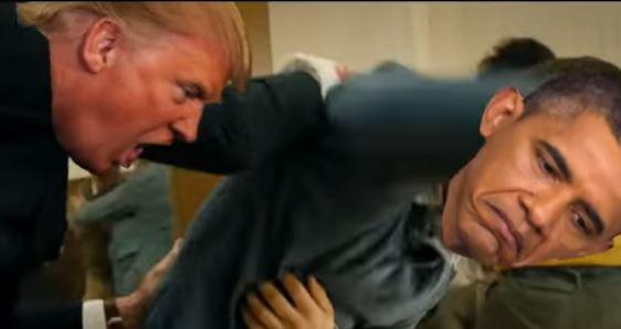 Trump beats Obama in video spoof