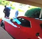 Home surveillance footage shows arrest and red car