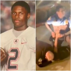 Football pic of teen claiming shoulder dislocated in arrest