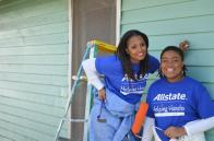 Keisha Knight Pulliam, left, puts the blue tools to work with ToolBank member agency, HouseProud Atlanta.