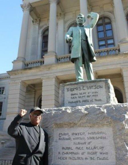 Brooks at Watson Statue
