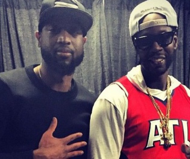 """2Chainz poses with Dwyane """"D-Wade"""" Wade of the Miami Heat."""