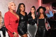 """ATLANTA, GEORGIA - MARCH 10: (L-R) Eva Marcille, Kenya Moore, Tammy Rivera, and Kandi Burruss attend the premiere of """"Waka & Tammy: What The Flocka"""" at Republic on March 10, 2020 in Atlanta, Georgia. (Photo by Paras Griffin/Getty Images WE tv)"""