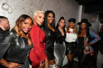 """ATLANTA, GEORGIA - MARCH 10: (L-R) Quad Webb, Eva Marcille, Kenya Moore, Tammy Rivera, Princess Banton-Lofters, and Kandi Burruss attend the premiere of """"Waka & Tammy: What The Flocka"""" at Republic on March 10, 2020 in Atlanta, Georgia. (Photo by Paras Griffin/Getty Images WE tv)"""
