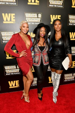 """ATLANTA, GEORGIA - MARCH 10: (L-R) Eva Marcille, Kandi Burruss, and Kenya Moore attend the premiere of """"Waka & Tammy: What The Flocka"""" at Republic on March 10, 2020 in Atlanta, Georgia. (Photo by Paras Griffin/Getty Images WE tv)"""