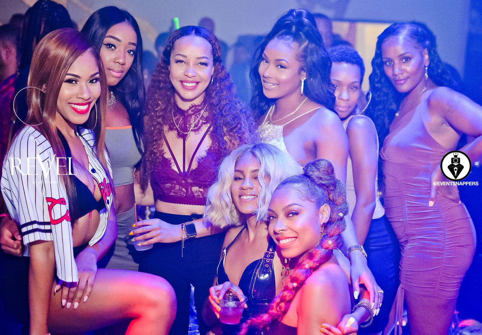 Glamorous pretty party girls have a blast in a club