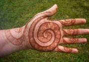 spiral henna hand design