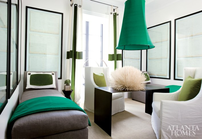 A scheme of saturated greens and unique design elements made this bedroom an instant hit at the 2009 Decorators' Show House & Gardens.