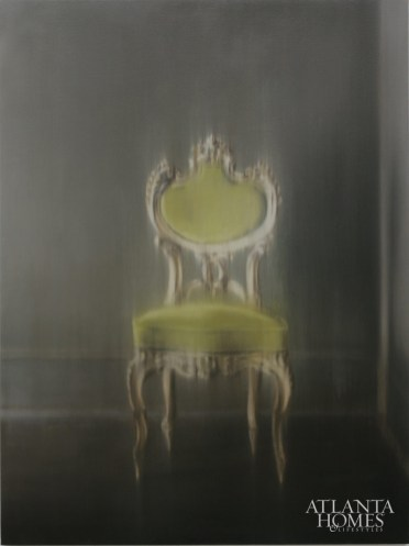 A painting of a green chair.