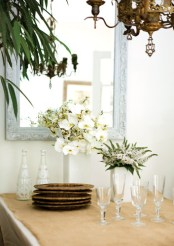 The dining room of Marie-Laure Coste Dujols and Thibaut Devillard is both rustic and chic.