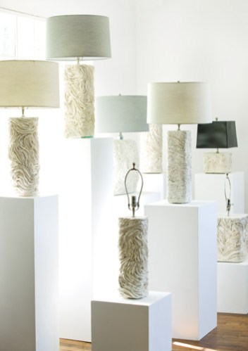 White Earthenware lamps with silk drum shades from Turkâ
