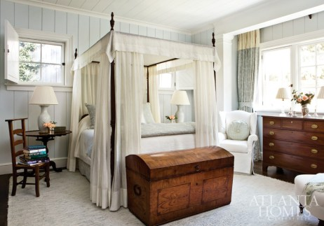 The classical aesthetic in the master bedroom is both romantic and serene. Muted tones and a canopy bed make a grand gesture.