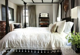 Fixture from South of Market. Ferrier incorporated pieces from the McAlpine Home collection, such as the Tavish étagère and Lotus Chamber bed, into a guest bedroom.