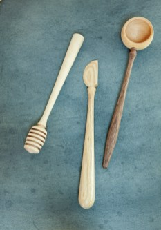 Everyday objects, including wood kitchen utensils by Nick Cook, have an artistic flair.