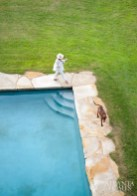 Webb, along with Cocoa, a Vizsla/Brown Lab mix, takes a stroll around the perfectly positioned swimming pool, which is bordered by rustic sandstone coping.