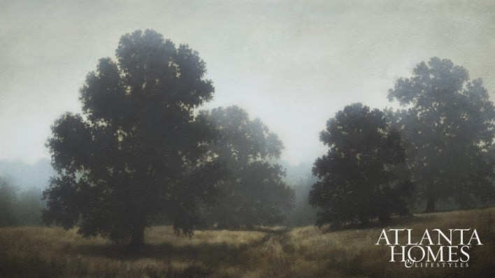 A painting of oaks in a field.