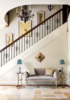 Heydt integrated the names of the Loudermilks' three children into a picket design on the stairwell.