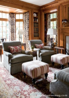 The study, complete with a gentleman's desk and swiveling armchairs, is one of the most used rooms in the home—and for good reason.