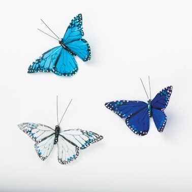 The three blue-and-white butterflies are part of a 12-pack of butterfly clips in various colors. $9.99, Hastings Nature & Garden Center, 3920 Peachtree Rd. NE, Atlanta 30319. (404) 869-7447; hastingsgardencenter.com