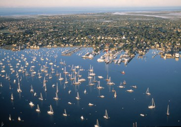 The beautiful blue waters of the Nantucket Boat Basin cater to the largest megayachts on the east coast.